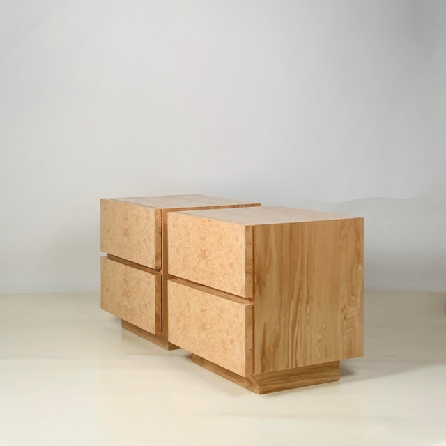 DESIGN FRERES Minimalist 'Amboine' Burl Wood Nightstands by Design Frères - a Pair For Sale - Image 4 of 12