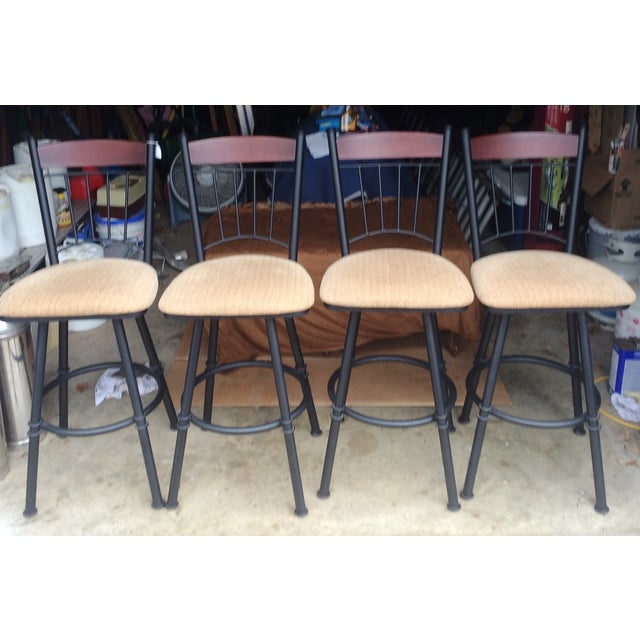 Swivel Metal Bar Stools With Cushion - Set of 4 - Image 2 of 7