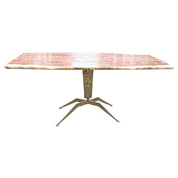 Abstract 1940s Mid-century Modern Cesare Lacca Bronze & Onyx Coffee Table For Sale - Image 3 of 9