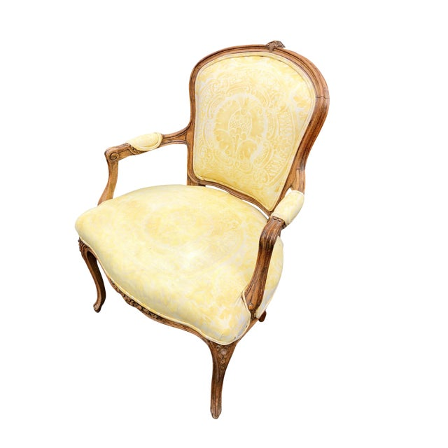 19th Century Louis XV Fauteuil in Fortuny Fabric For Sale