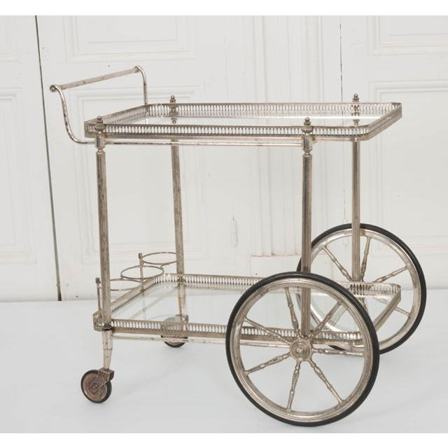French Vintage Silver Bar Cart For Sale - Image 12 of 13