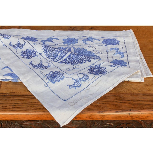 Blue Suzani Tapestry Throw For Sale In Los Angeles - Image 6 of 9
