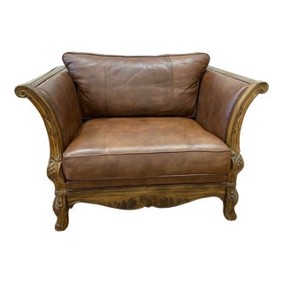 Bernhardt Country French Leather + Carved Fruitwood Vintage Oversize Chair For Sale