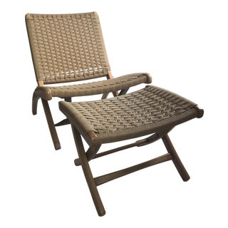 Vintage Mid-Century Hans Wegner Style Japanese Folding Rope Chair & Ottoman - 2 Pieces For Sale