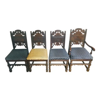 1920s Vintage Jacobean Revival Dining Chairs- Set of 4 For Sale