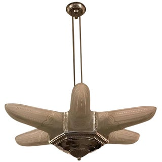 French Art Deco Starburst Chandelier For Sale