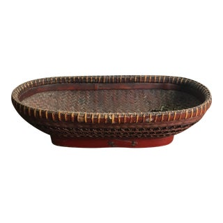 Antique 19th Century Chinese Hand-Woven Red Crosshatch Bamboo Oval Basket For Sale