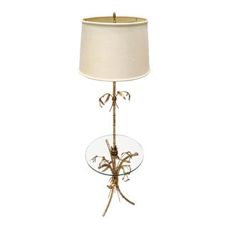 Mid-Century French Style Gilt-Metal Faux Bamboo & Glass Floor Lamp With Shade For Sale