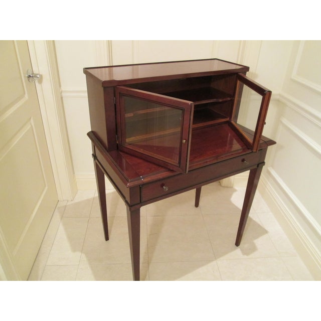Brown Grange Writing Desk with Curio For Sale - Image 8 of 12