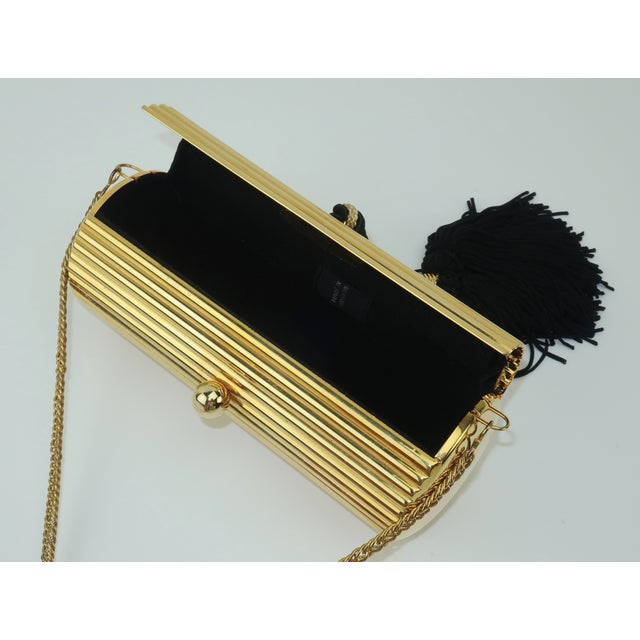 Metal Walborg Gold Metal Cylinder Handbag With Black Tassel Closure For Sale - Image 7 of 13