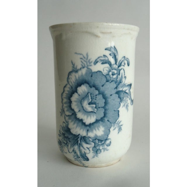 Ceramic 20th Century Shabby Chic Blue & White Stoneware Floral Vase For Sale - Image 7 of 7