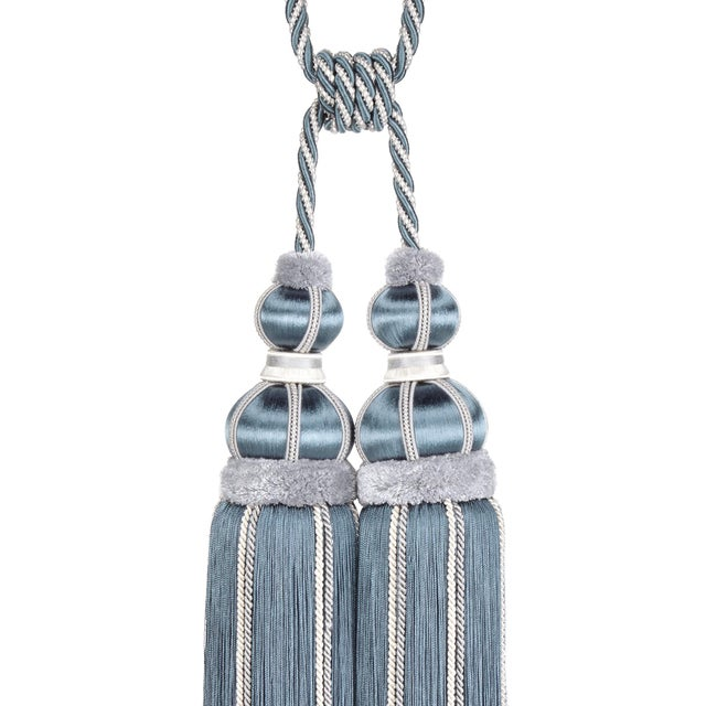 Art Deco Blue Slate Double Tassel Tieback With Cut Ruche - H 17 Inches For Sale - Image 3 of 6