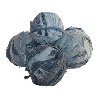 Amish Denim Large Rag Ball Collection For Sale