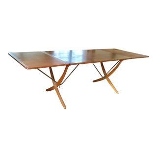 1950s Mid-Century Modern Danish Hans Wegner Sabre Legged Table For Sale