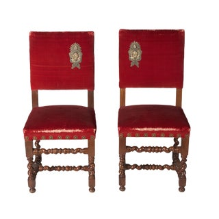Mid 19th Century Jacobean Turned Mahogany Hall Chairs- a Pair For Sale