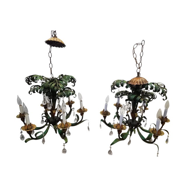 Vintage Pair of Hanging Colorful Leaf/Frond Lights - Flush Mount Ceiling For Sale