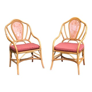 Vintage Rattan Chairs With Rose Travertine Back a Pair For Sale