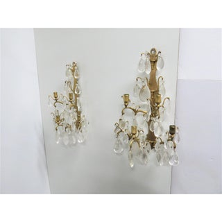 French Bronze & Rock Crystal Candle Sconces - a Pair Preview