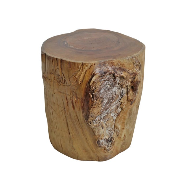Teak Stump Side Table For Sale