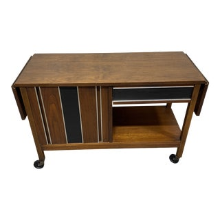 Mid Century Drop Leaf Walnut Bar Cart For Sale