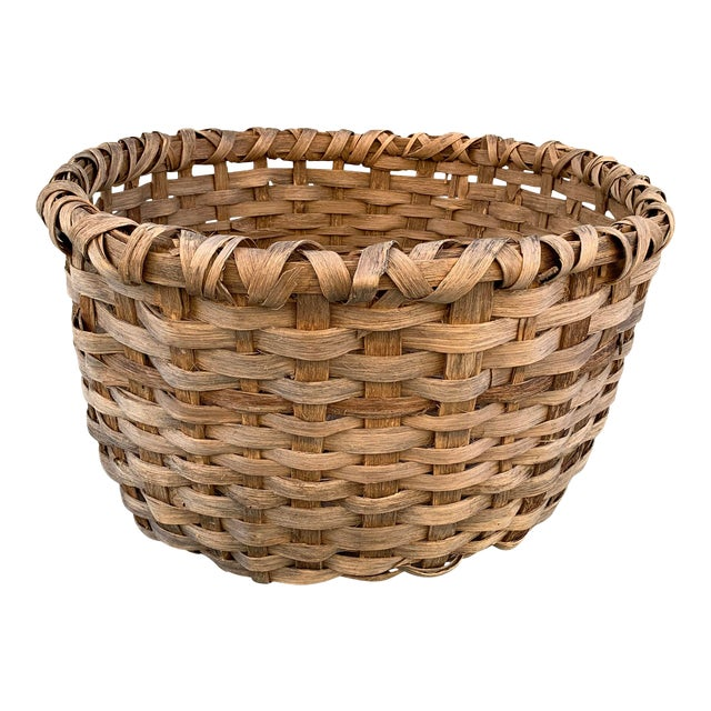 Massive 19th Century Oak Splint Wool Basket For Sale