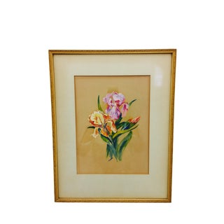 Vintage Original Iris Painting in Frame