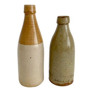 English & Scottish Stoneware Ginger Beer Bottles - a Pair For Sale