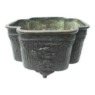 Japanese Bronze Footed Quatrefoil Bowl For Sale