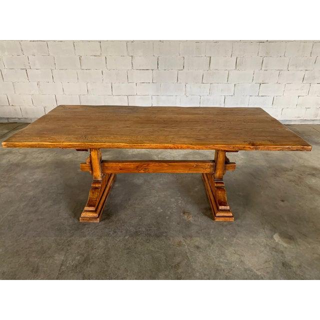 """Dimensions: W 200 cm / D 98 cm / H 75 cm W 78.7"""" / D 38.5"""" / H 29.5"""" Beautiful antique Farmhouse solid 5 plank top oak..."""