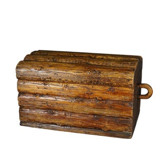Wooden Carved Log Box Modelled as Piled Stack of Logs For Sale