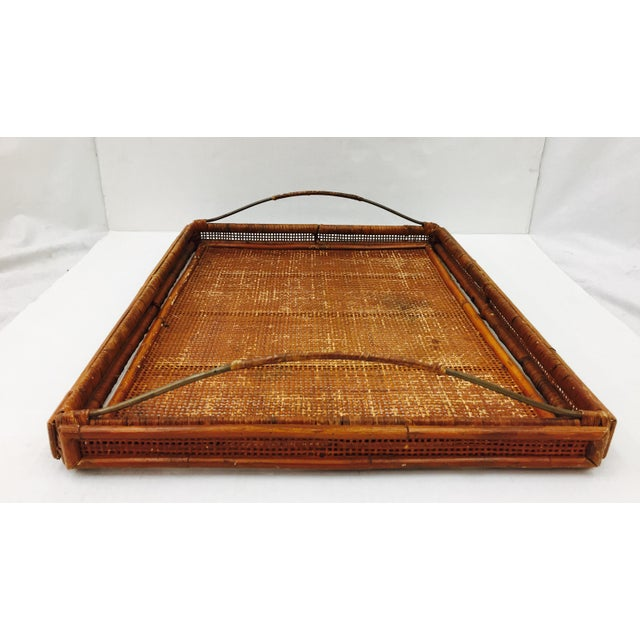 Beautiful Vintage Mid Century Woven Cane, Bamboo & Brass Serving Tray. Stunning detail on Wrapped wicker Bent Brass Metal...