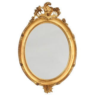 French Louis XV Style Giltwood Oval Mirror For Sale