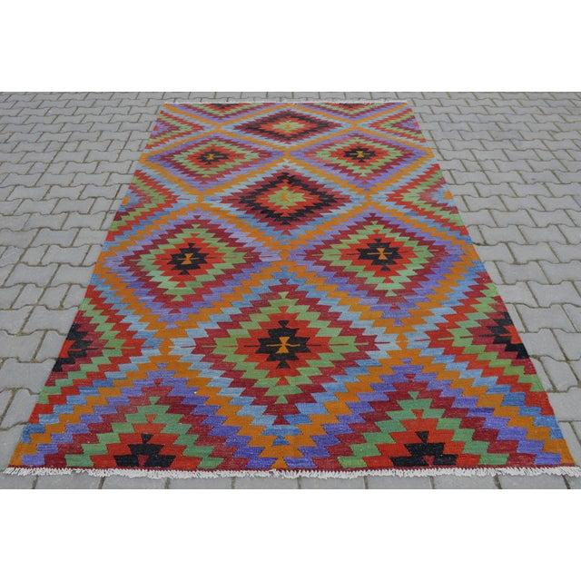 Turkish Wool Zig-Zag Kilim - 5′9″ × 9′7″ - Image 3 of 9