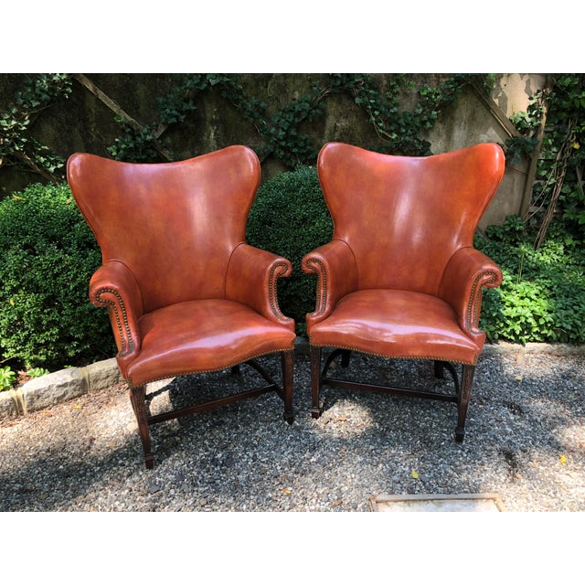 1960s Mid-Century Modern Brown Faux Leather Wingback Chairs - a Pair For Sale - Image 12 of 12