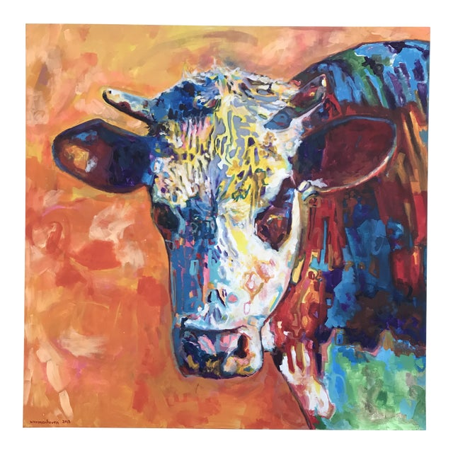 Pop Art Contemporary Cow Acrylic Painting by David Warmenhoven For Sale