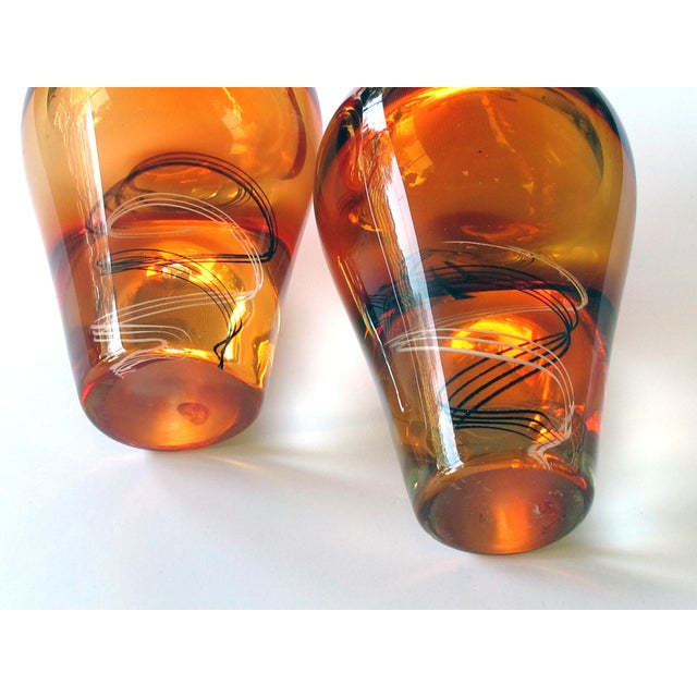 1970s An Exceptional Pair of Kosta Boda Swedish Orange Art Glass Vases; Design by Klas-Goran Tinback For Sale - Image 5 of 7