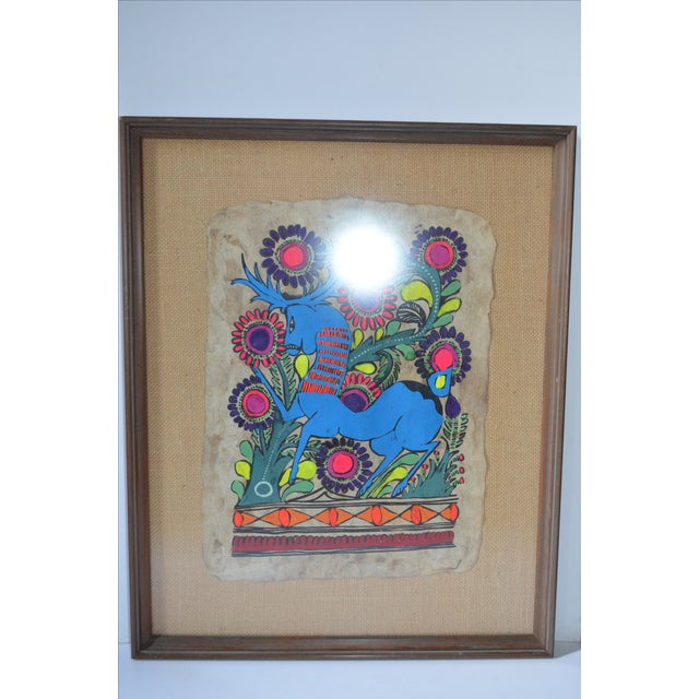 Boho Chic Otomi Mexican Folk Art Amate Painting For Sale - Image 3 of 8