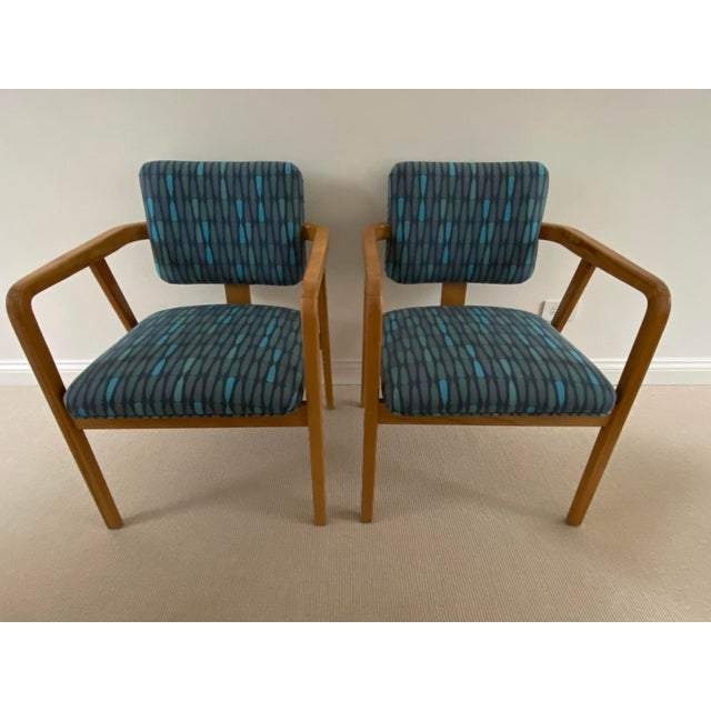 1950s Mid-Century Modern Walnut Upholstered Arm Chairs - a Pair For Sale - Image 13 of 13