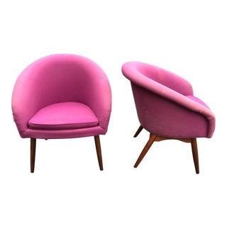 1960s Mid-Century Modern Thayer Coggin for Milo Baughman Spoon Back Lounge Chairs - a Pair For Sale
