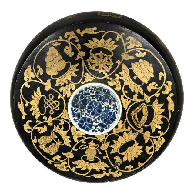 Chinese Blue and White Ceramic Medallion Wooden Round Box For Sale
