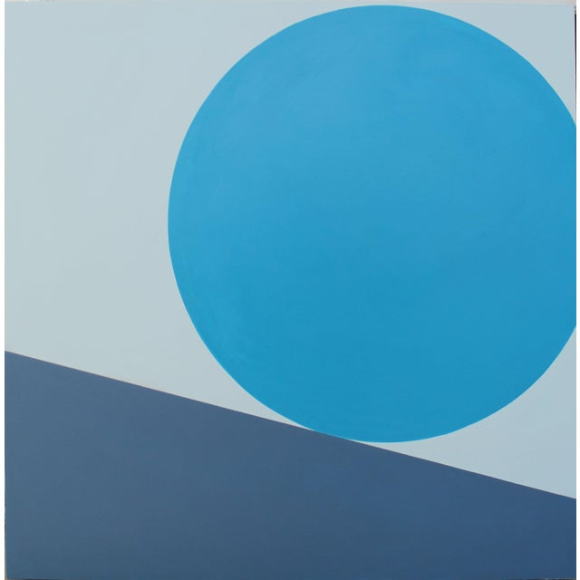 """""""Downhill From Here"""" in Turquoise Acrylic Painting - Image 6 of 6"""