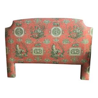 Braquenie Les Muses Et Le LIon Toile De Jouy Fabric Upholstered Headboard For Sale