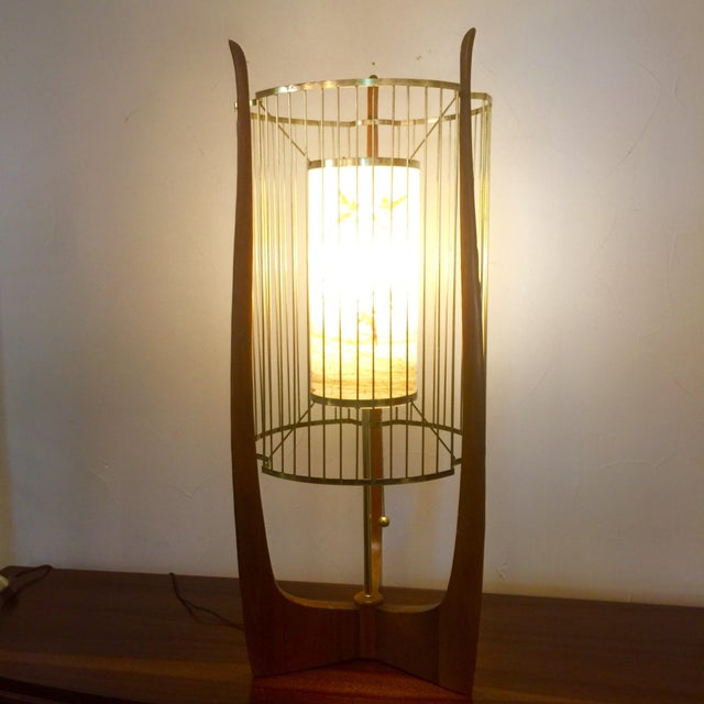 Modaline Sculptural Lamp with Original Shade | Chairish