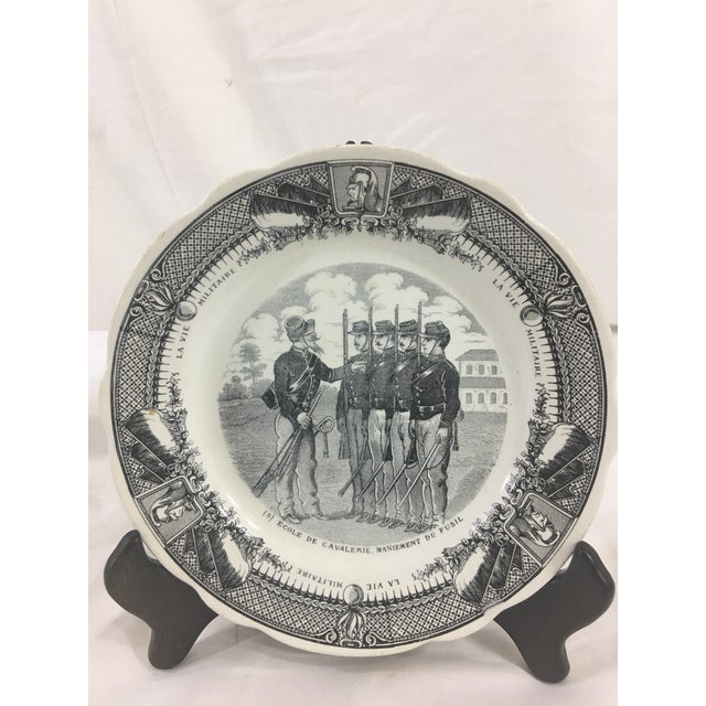 French Provincial Sarreguemines French Military Life Plates - Set of 7 For Sale - Image 3 of 9