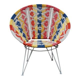Boho Style Multi-Colored Woven Papasan Chair