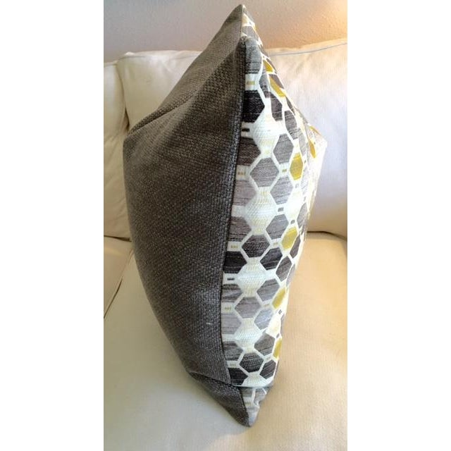 Modern Geometric Chartreuse & Gray Pillow - Image 4 of 7