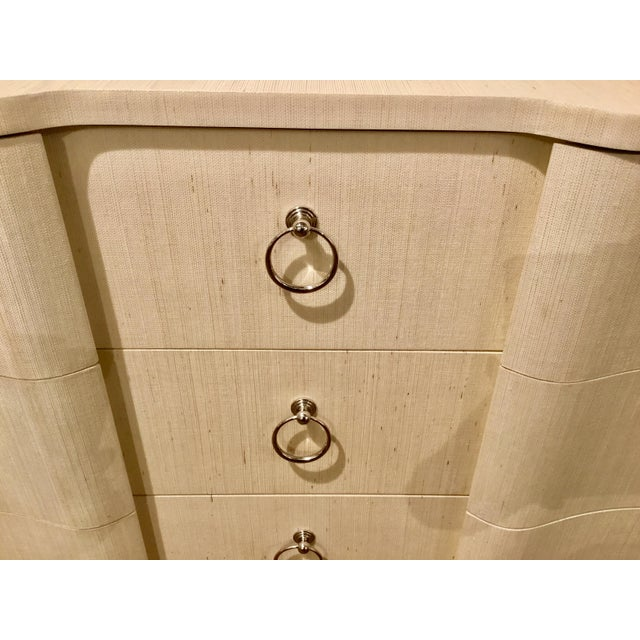 2010s Bungalow 5 Modern Serpentine Natural Lacquered Grasscloth Bardot Three Drawer Chest For Sale - Image 5 of 6