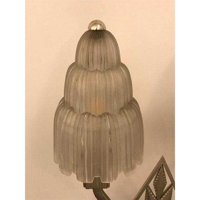 """Silver French Art Deco """"Waterfall"""" Table Lamp Signed by Sabino For Sale - Image 8 of 13"""