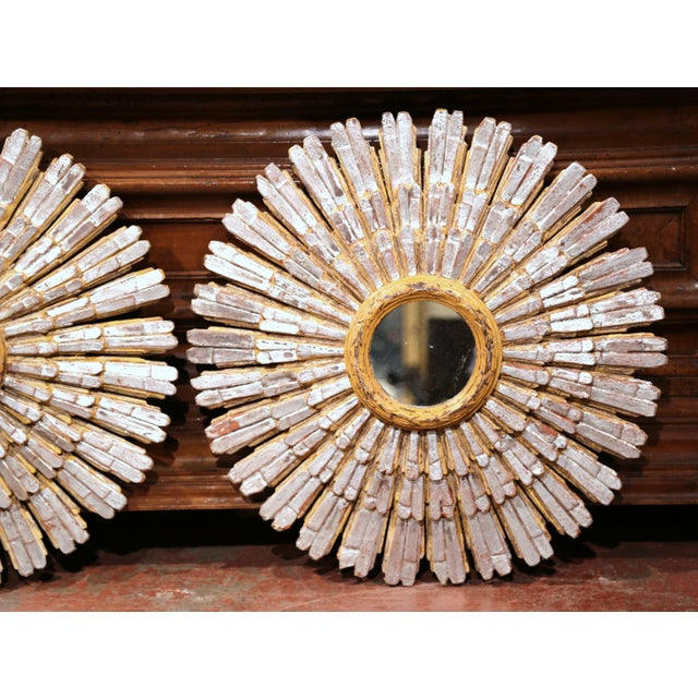 Mid-20th Century French Painted and Silvered Carved Sunburst Mirrors - a Pair For Sale - Image 4 of 10