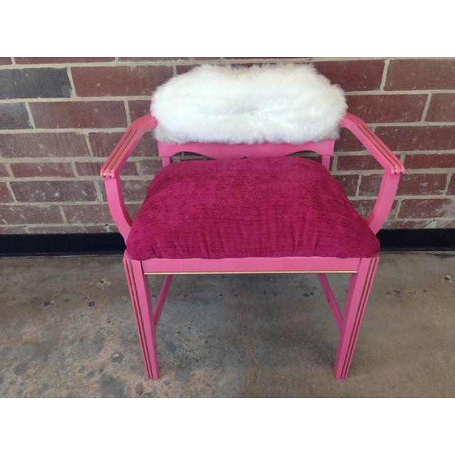 Hollywood Regency 1950s Vintage Art Deco Hot Pink Vanity Chair For Sale - Image 3 of 8